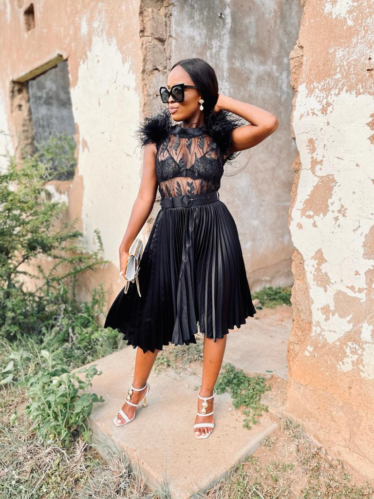Black ostrich feather lace top